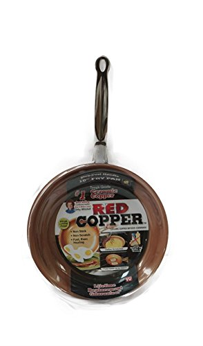 NEW 10 Inch Ceramic Copper Infused Skillet/Frying Pan NON-STICK, NON-SCRATCH from Unknown