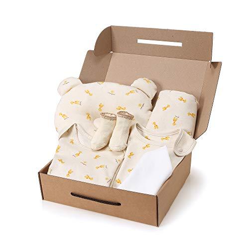 WithOrganic Newborn Gift Set | 100% Organic Certified Cotton | 7 Pieces | for Baby Boy or Girl (6M, Baby Giraffe)