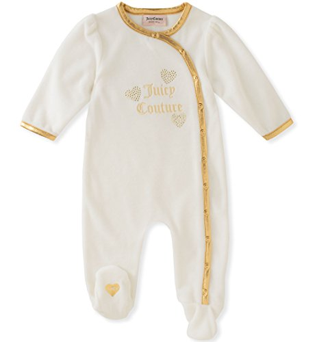Juicy Couture Girls' Footie, Silent Vanilla/Gold, 3-6