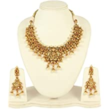 MUCHMORE Elegant Gold Tone Lord Laxmi Temple Jewelry Traditional Necklace Set With Pearl Drops