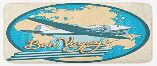 (Lunarable Airplane Kitchen Mat, Bon Voyage Pop Art Retro Travel Tourism Map of Eurasia Africa Australia, Plush Decorative Kithcen Mat with Non Slip Backing, 47