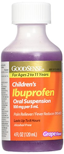 GoodSense Children's Ibuprofen Pain Reliever/Fever Reducer Oral Suspension, Grape, 4 Fluid Ounce - Good Sense Ibuprofen
