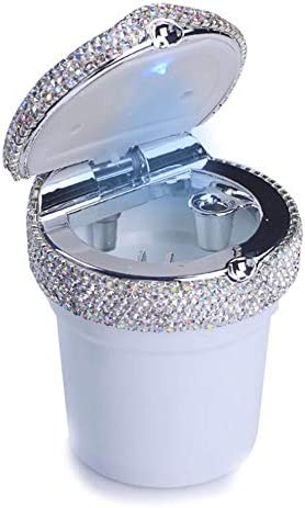 ブリンブリンクリスタルダイヤモンド耐火ステンレス蓋とほとんどの車に適してクールなブルーLEDライトインジケータ、女性の女の子のための最高の贈り物、ラグジュアリーカー灰皿,白