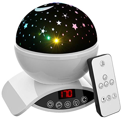 Aisuo Lighting Lamp, Rotating Star Projection with Auto Shut Off Timer, 7 Color Options, Rechargeable Lithium Battery & Dimmable Function, Ideal Gift for Kids, Children, Friends. (White) (Teen Presents Good)