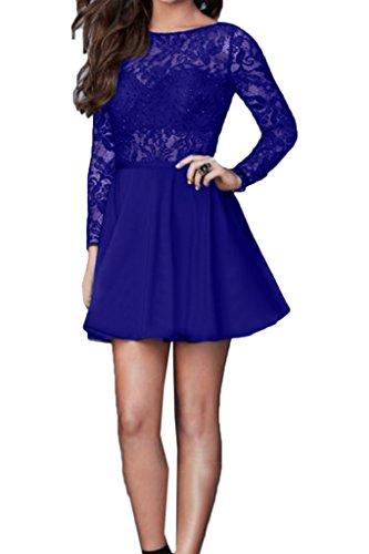 Abendkleid Damen Rundkragen Ivydressing Promkleid Liebling Festkleid Aermel Royalblau amp;Satin Spitze Mit gRqzA