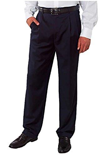Kirkland Signature Mens Pleated Italian Wool Dress Slacks-Navy Mini Plaid, 38 x 36