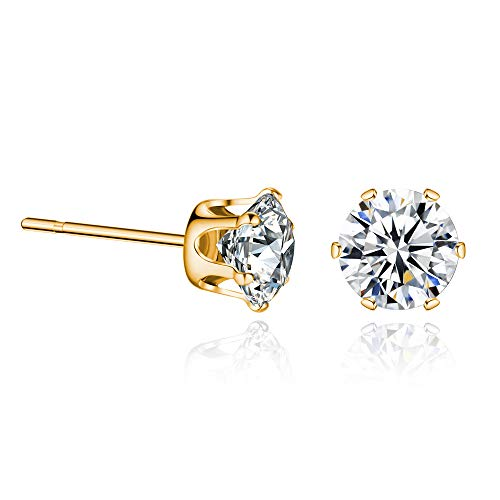 (Ear Piercing Studs Earrings 18K Gold Plated CZ Hypoallergenic 3mm)