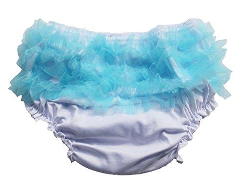"Haian ABDL Girls Ruffle Panties Chiffon Bloomers Diaper Cover (Medium Bast fit waist 30""-36"", White & Blue)"