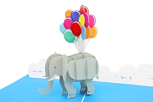 (PopLife Elephant and Balloons 3D Mothers Day Pop Up Card - Pop Up Happy Birthday Card, Baby Shower Gift, Get Well - Folds Flat for Mailing - for Mother, for Daughter, for Son, for Wife, Granddaughter)