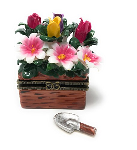 Porcelain Tulip and Wild Flowers Garden Planter Hinged Lid Trinket Box with Tiny Trinket Inside, 2.25 Inches Wide