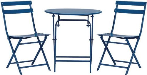 Follie Outdoor 3 piece Bistro Set, 3-PIECE SET, NAVY For Sale