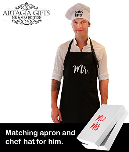 58183a66604 Mr and Mrs Aprons and Chef Hats Couples Gift