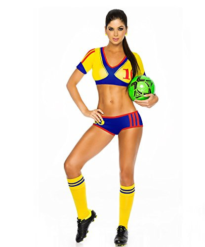 Cheerleading Uniform for Womens Sexy Football Short Sleeve Shirt Sets Stage Uniform cosplay party halloween (Colombia yellow)