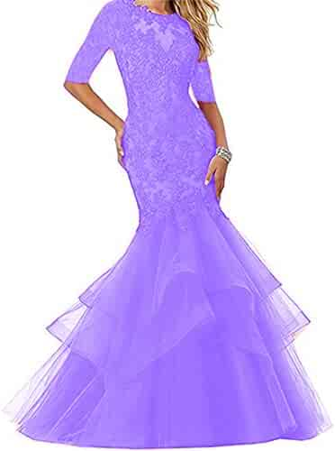 8b43d65cc55 Dydsz Women s Long Prom Evening Dresses with Sleeves Mermaid Formal Party  Gowns D265
