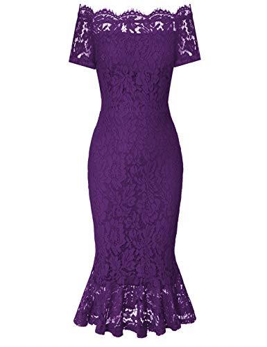 Vintage Short Lace Sleeve Fit Flare Midi Cocktail Dress for Women Purple L