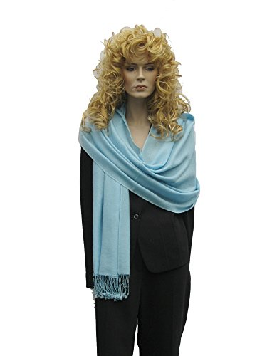 Scarf/Shawl/Wrap/Stole/Pashmina Shawl in solid color from Cashmere Pashmina Group (Regular Size) - Robin's Egg Blue