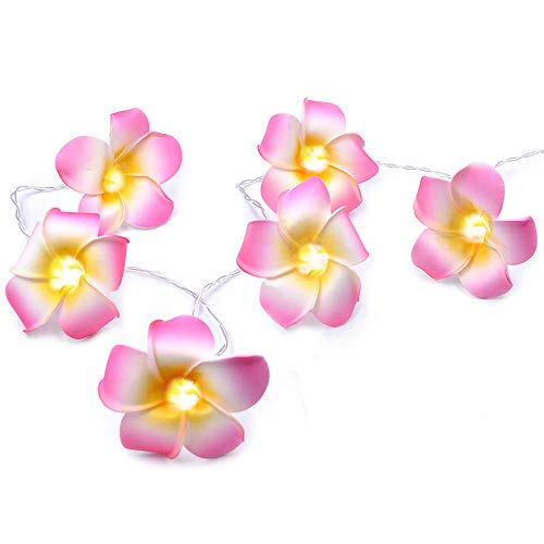 AceList Luau Hawaiian Party Decorations Supplies Pink Plumeria Flower 20 LED String Light Artificial Flower for Wedding Beach Party
