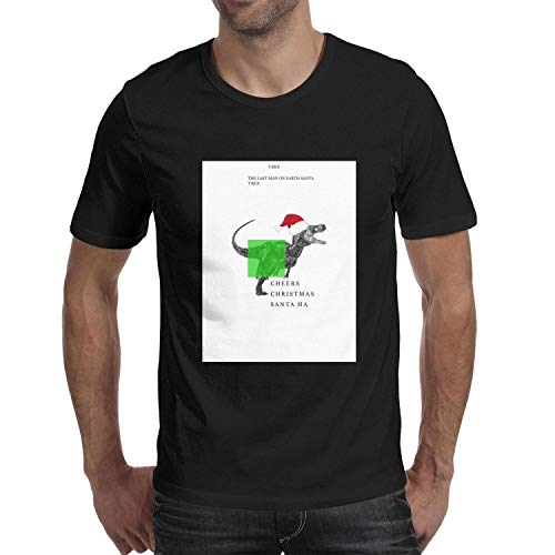 The Last Man on Earth Santa T-Rex Cheers Short Sleeve for Men t Shirt O-Neck Cotton University ()