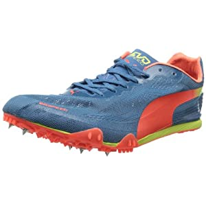 PUMA Men's Evospeed Harambee Track and Field Shoe,Metallic Blue/Fluorescent Peach/Fluorescent Yellow,12 M US