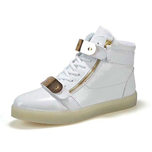 Dear-Queen LED Shoes High Top Men Women Light Up Shoes USB Charging Metal Velcro Flashing Sneakers White Du2q00zb5H