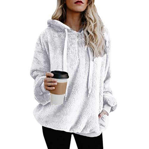 Minetom Donna Felpe Con Cappuccio Magliette Hoodies Pullover Manica Lunga Tops Tinta Unita Moda Vello Velluto Sweatshirt Autunno Inverno Bianca