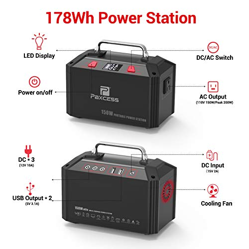PAXCESS Generator Portable Power Station-[150W Upgraded]-Lithium Battery Pack Supply with 110V AC Outlet, 3 DC 12V Ports, 2 USB Port, Solar Electric Small Generators for Camping Travel Home Emergency by PAXCESS (Image #2)