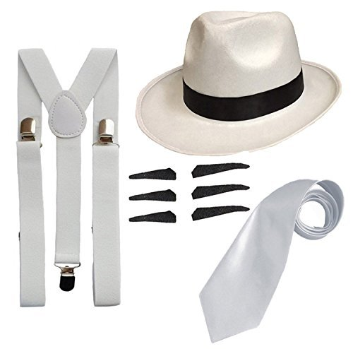 DELUXE 1920S GANGSTER FANCY DRESS SET - TRILBY HAT + SUSPENDER BRACES +TIE (White Hat) by RS (1920s Gangster Fashion)