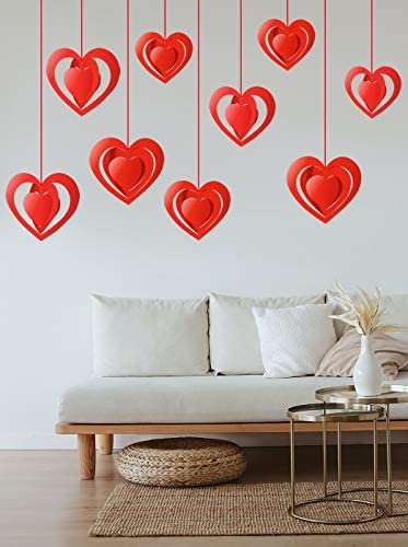 PTFNY 15 Pieces Valentine's Day 3-d Heart Hanging Decorations Red Hearts Hanging Ornaments with Red Ribbons Party Supplies for Indoor Outdoor Bridal Shower Anniversary Wedding Party Decorations