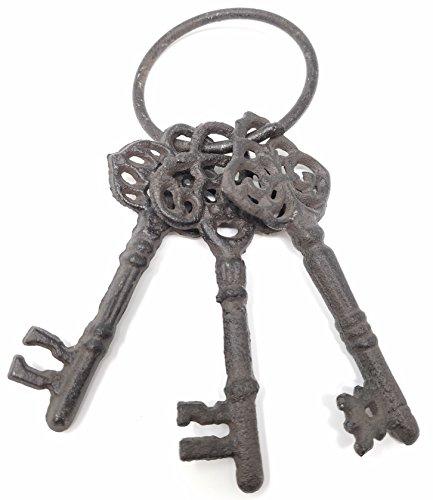 Chalily Cast Iron Skeleton Key Ring | Set of 3 Large Cast Iron Keys on Ring ()