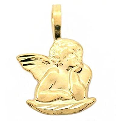 14K Yellow Gold Guardian Angel Charm Pendant