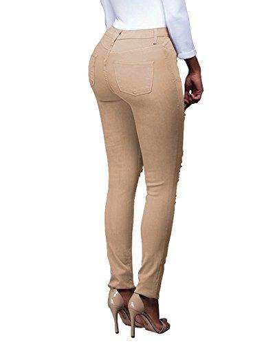 Vaqueros Desgarrados Elásticos Skinny Slim Pantalones para Mujer Albaricoque