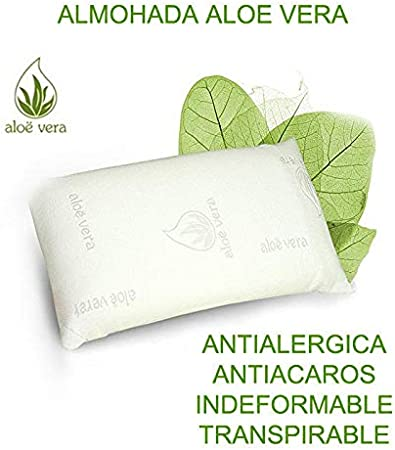 Regalitostv Aloe Vera Almohada Viscoelástica Carbono Activo Fabricada En España Anatómico Ortopédico Anti-acaros (135)
