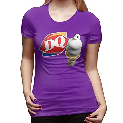 - CSDQC Womens Design Lovely Tee Shirt Dairy Queen Logo DQ Logo Short Sleeve Classic T-Shirts Purple XXL