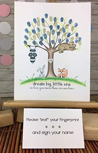 Customizable woodland animal fingerprint tree featuring a grey raccoon, grey bunny, brown bear, and fox