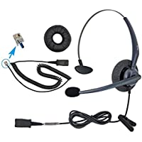 DailyHeadset RJ9 Mono Corded Noise Cancelling Microphone Phone Headset for Grandstream Yealink Snom Huawei Panasonic Business Office IP Phone