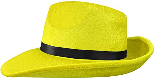 Man Yellow Hat Halloween Costume (Nicky Bigs Mens Yellow Pop Gangster Fedora Hat Halloween Costume Accessory, Yellow, One)