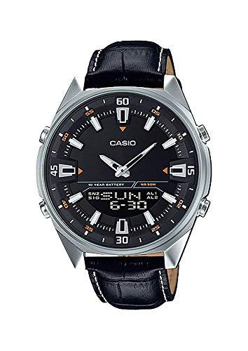 Casio AMW830L-1AV Men's Leather Band Black Dial Analog Digital Telememo 30 Watch Analog World Timer Watch