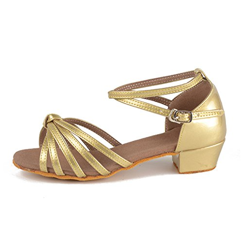 Children's Shoes Latin BOZEVON Girls Soled with Gold Soft Shoes Satin Dance Shoes YddBxr