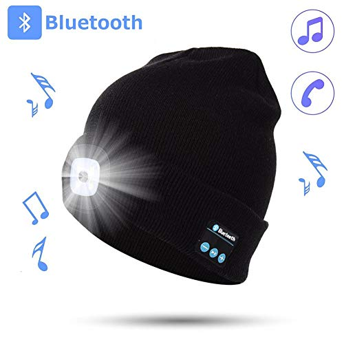 LED Beanie Hat with Bluetooth, Built-in Stereo Speakers and Mic, USB Rechargeable Wireless 4 LED Headlamp Knitted Cap Unisex for Men and Women, Camping, Auto Repair, Walking at Night