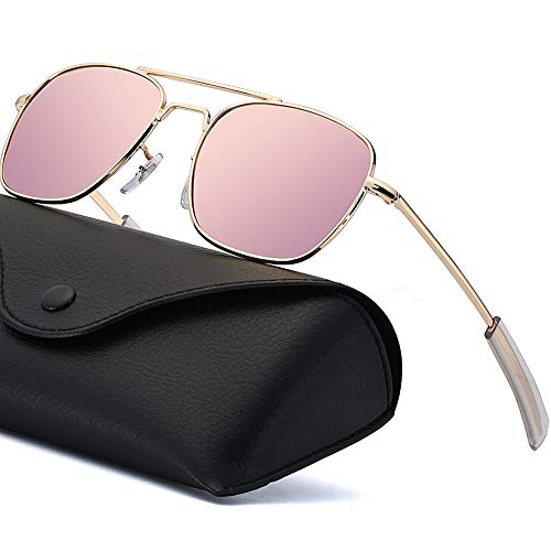 Polarized Aviator Sunglasses for Women 55mm Pilot Military Sun glasses with Bayonet Temples for Men Square Metal Frame Rose Glod Shades Pink Mirrored Lens ()