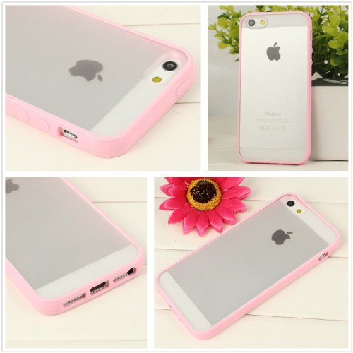 iPhone 5s Case, Dynamic ¨ [Cushioned Thin Gel Bumper] Premium Frosted Clear TPU Case + FREE Screen Protector ** New ** [Pink] Scratch Resistant Hard Cover Bumper Case for iPhone 5 and iPhone 5s Ð Pink