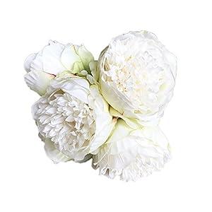 Wffo 1Bouquet 5 Heads Artificial Peony Silk Flower Leaf Home Wedding Party Decor (G) 45