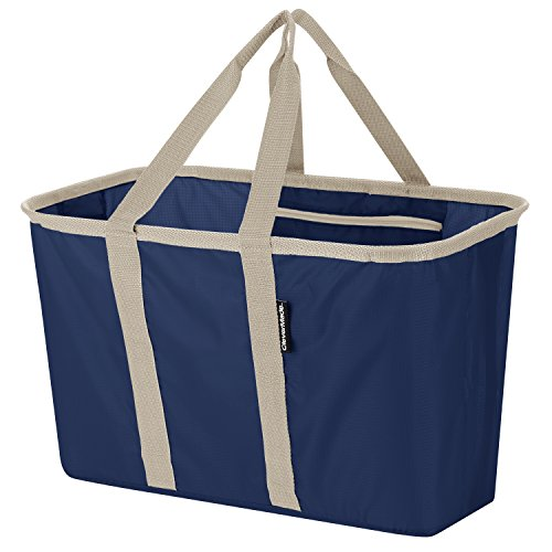 CleverMade SnapBasket Collapsible Shopping Basket/Grocery Bag: 30 Liter Soft-Sided Tote, Navy/Cream