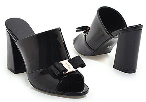Easemax Bloc Noir Avec de Travail Mules Talon Chaussure Nœud Simple Toe Peep Femme tAart