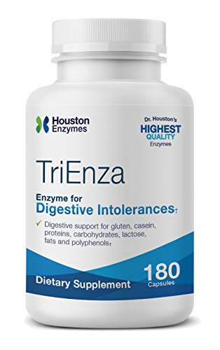 Support Broad Spectrum - Houston Enzymes TriEnza - 180 Capsules (90 Doses) | Broad-Spectrum Enzymes for Digestive Intolerances | Supports Digestion of Gluten, Casein, Soy, Proteins, Carbohydrates, Sugars, Fats & Polyphenols