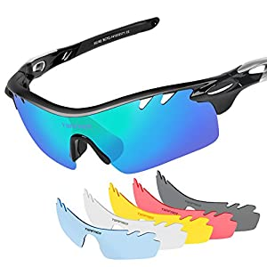 Tsafrer Polarized Sports Sunglasses with 6 Interchangeable Lenses for Cycling Driving Running Golf
