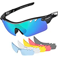 Polarized Sports Sunglasses with 6 Interchangeable Lenses Tr90 Unbreakable Sunglasses