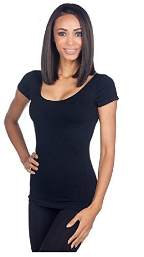 Nikibiki Womens Seamless Cap Sleeve Scoop Neck Top