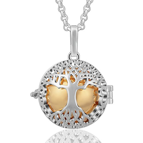 (AEONSLOVE Silver Celtic Tree of Life Melody Pendant Necklaces Calming Mother Baby Gift (Gold))