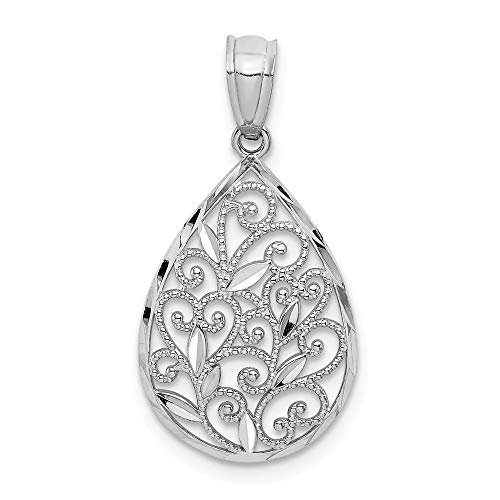 14k White Gold Textured Small Filigree Teardrop Pendant Charm Necklace Fine Jewelry Gifts For Women For Her